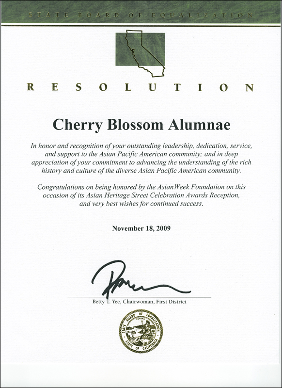 Resolution certificate from California State Board of Equalization, 2009